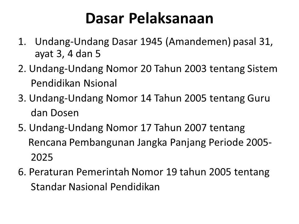 Dasar Pelaksanaan 1.Undang-Undang Dasar 1945 (Amandemen) pasal 31, ayat 3, 4 dan 5 2. Undang-Undang Nomor 20 Tahun 2003 tentang Sistem Pendidikan Nsio