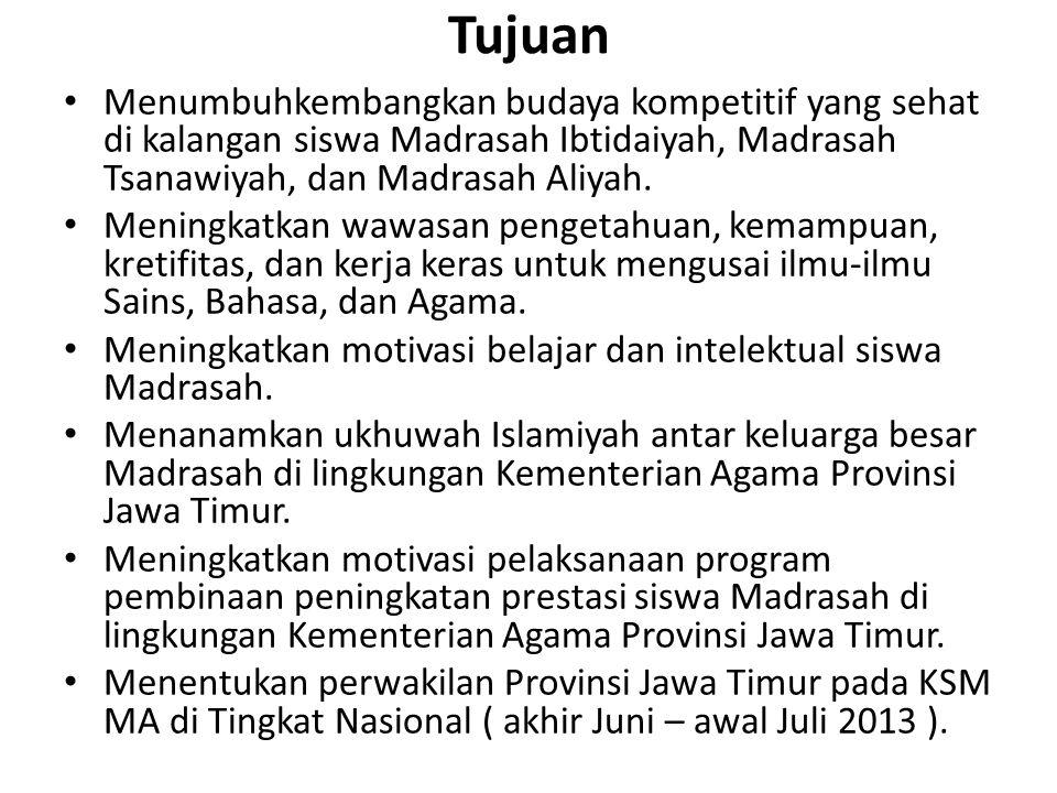 Tujuan Menumbuhkembangkan budaya kompetitif yang sehat di kalangan siswa Madrasah Ibtidaiyah, Madrasah Tsanawiyah, dan Madrasah Aliyah. Meningkatkan w