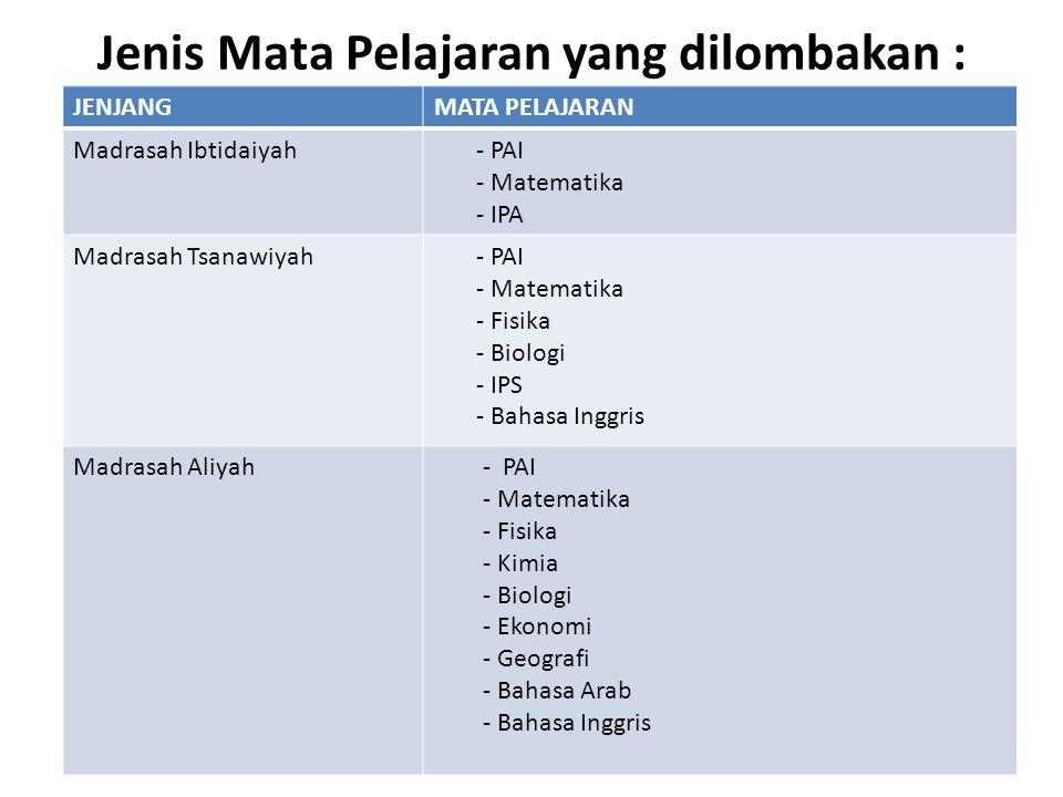 Jenis Mata Pelajaran yang dilombakan : JENJANGMATA PELAJARAN Madrasah Ibtidaiyah - PAI - Matematika - IPA Madrasah Tsanawiyah - PAI - Matematika - Fis