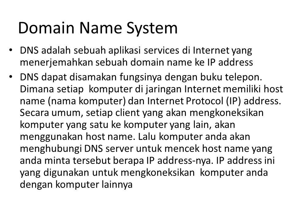 Domain Name System DNS adalah sebuah aplikasi services di Internet yang menerjemahkan sebuah domain name ke IP address DNS dapat disamakan fungsinya dengan buku telepon.