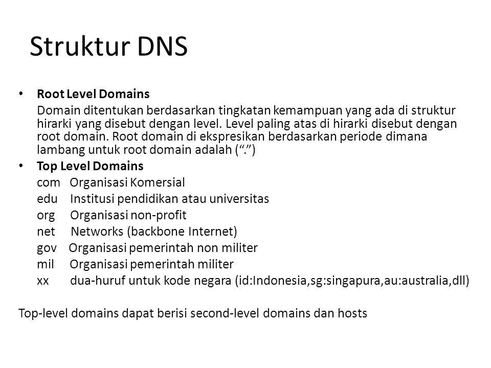 Struktur DNS Root Level Domains Domain ditentukan berdasarkan tingkatan kemampuan yang ada di struktur hirarki yang disebut dengan level.
