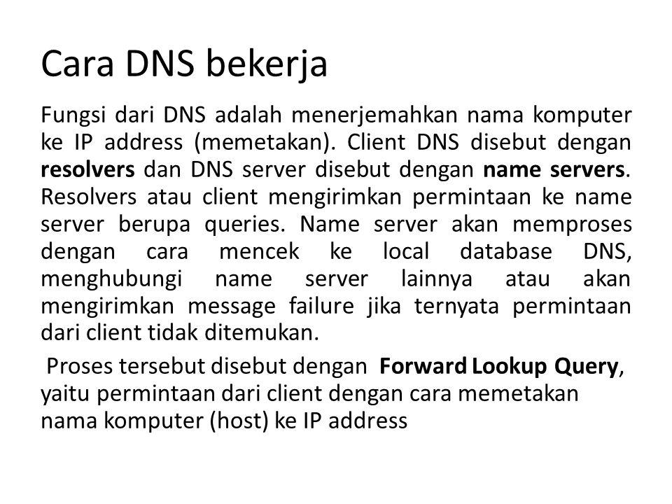 Cara DNS bekerja Fungsi dari DNS adalah menerjemahkan nama komputer ke IP address (memetakan).