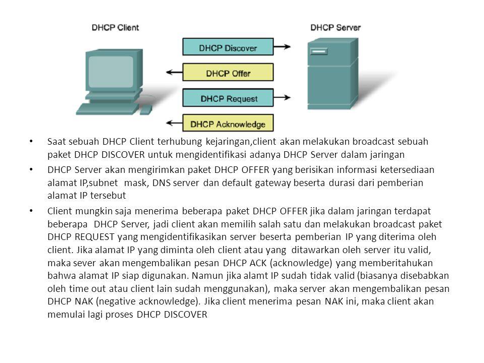 Saat sebuah DHCP Client terhubung kejaringan,client akan melakukan broadcast sebuah paket DHCP DISCOVER untuk mengidentifikasi adanya DHCP Server dalam jaringan DHCP Server akan mengirimkan paket DHCP OFFER yang berisikan informasi ketersediaan alamat IP,subnet mask, DNS server dan default gateway beserta durasi dari pemberian alamat IP tersebut Client mungkin saja menerima beberapa paket DHCP OFFER jika dalam jaringan terdapat beberapa DHCP Server, jadi client akan memilih salah satu dan melakukan broadcast paket DHCP REQUEST yang mengidentifikasikan server beserta pemberian IP yang diterima oleh client.