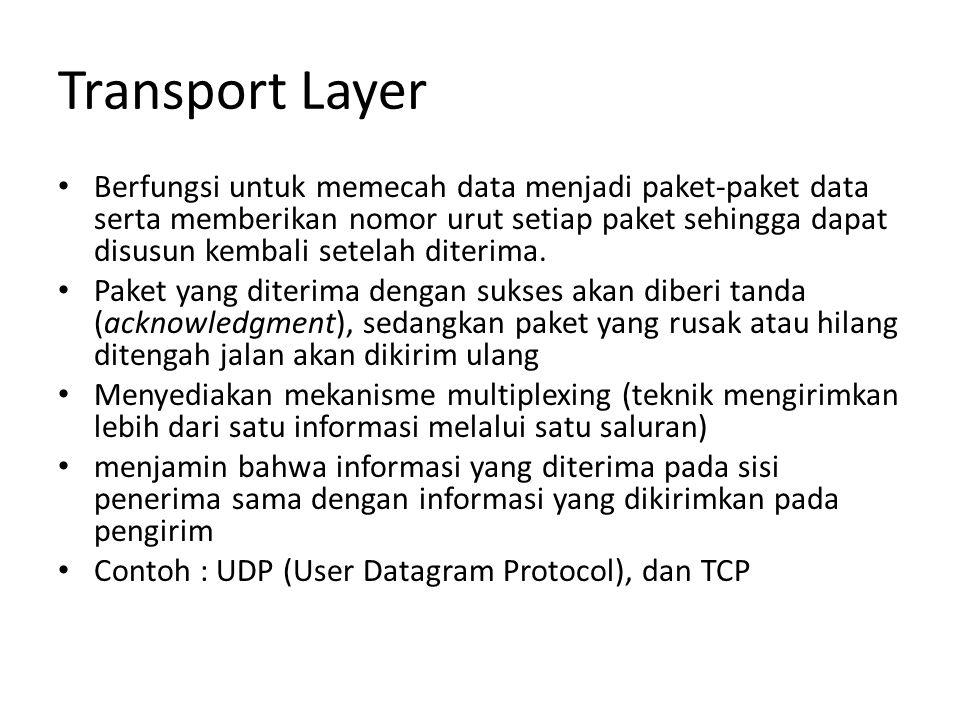 Transport Layer Berfungsi untuk memecah data menjadi paket-paket data serta memberikan nomor urut setiap paket sehingga dapat disusun kembali setelah diterima.