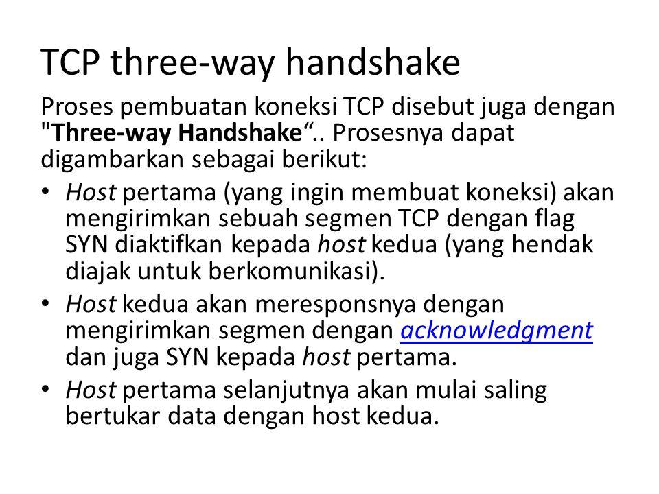 TCP three-way handshake Proses pembuatan koneksi TCP disebut juga dengan Three-way Handshake ..