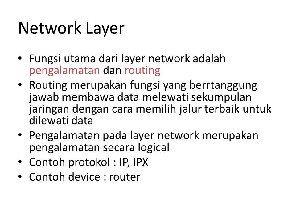 Network Layer Fungsi utama dari layer network adalah pengalamatan dan routing Routing merupakan fungsi yang berrtanggung jawab membawa data melewati sekumpulan jaringan dengan cara memilih jalur terbaik untuk dilewati data Pengalamatan pada layer network merupakan pengalamatan secara logical Contoh protokol : IP, IPX Contoh device : router