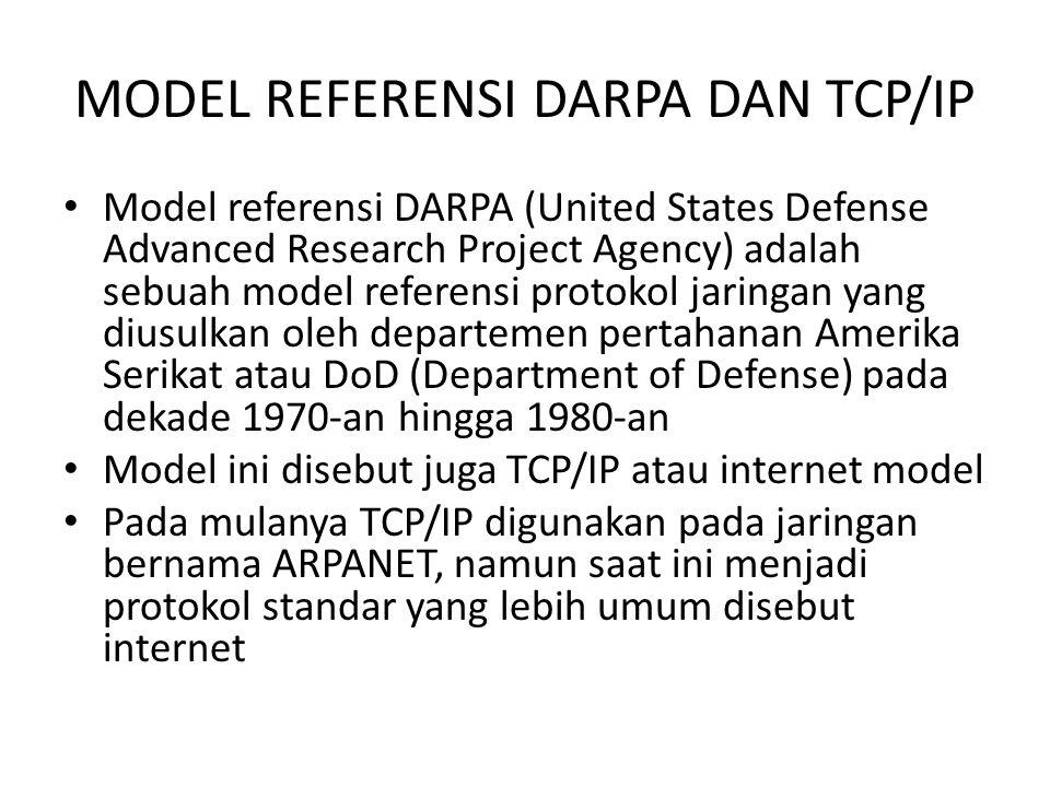 MODEL REFERENSI DARPA DAN TCP/IP Model referensi DARPA (United States Defense Advanced Research Project Agency) adalah sebuah model referensi protokol jaringan yang diusulkan oleh departemen pertahanan Amerika Serikat atau DoD (Department of Defense) pada dekade 1970-an hingga 1980-an Model ini disebut juga TCP/IP atau internet model Pada mulanya TCP/IP digunakan pada jaringan bernama ARPANET, namun saat ini menjadi protokol standar yang lebih umum disebut internet