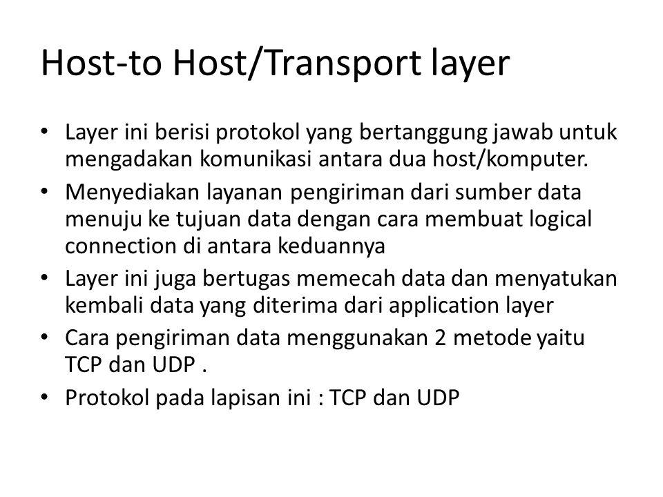 Host-to Host/Transport layer Layer ini berisi protokol yang bertanggung jawab untuk mengadakan komunikasi antara dua host/komputer.