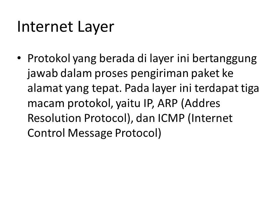 Internet Layer Protokol yang berada di layer ini bertanggung jawab dalam proses pengiriman paket ke alamat yang tepat.