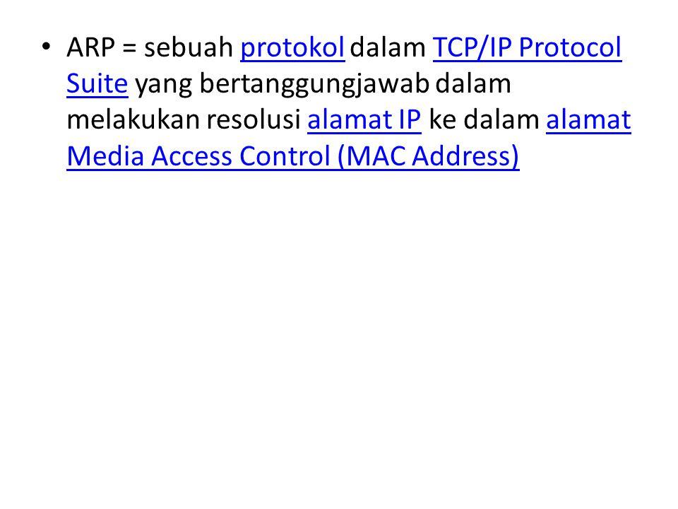 ARP = sebuah protokol dalam TCP/IP Protocol Suite yang bertanggungjawab dalam melakukan resolusi alamat IP ke dalam alamat Media Access Control (MAC Address)protokolTCP/IP Protocol Suitealamat IPalamat Media Access Control (MAC Address)