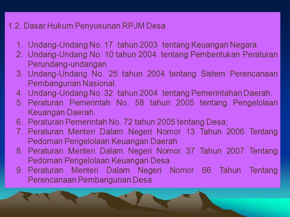 1.2. Dasar Hukum Penyusunan RPJM Desa 1.Undang-Undang No. 17 tahun 2003 tentang Keuangan Negara 2.Undang-Undang No. 10 tahun 2004 tentang Pembentukan