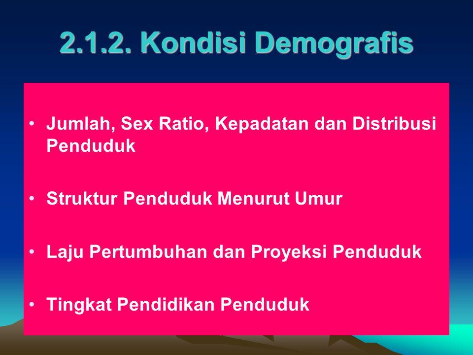 2.1.2. Kondisi Demografis Jumlah, Sex Ratio, Kepadatan dan Distribusi Penduduk Struktur Penduduk Menurut Umur Laju Pertumbuhan dan Proyeksi Penduduk T
