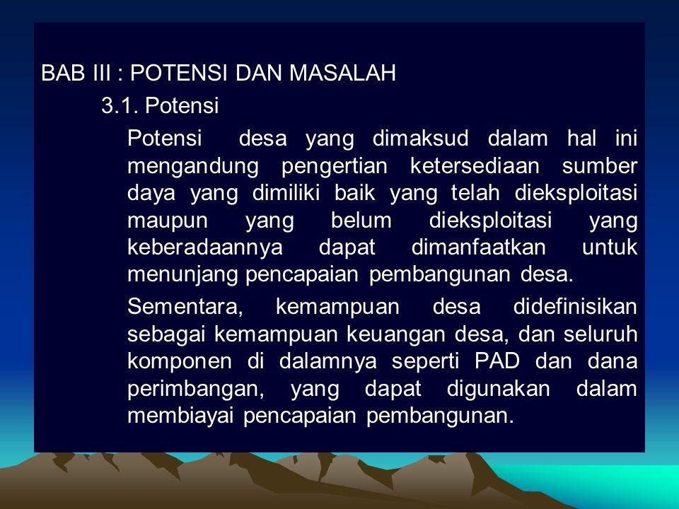 BAB III : POTENSI DAN MASALAH 3.1. Potensi Potensi desa yang dimaksud dalam hal ini mengandung pengertian ketersediaan sumber daya yang dimiliki baik