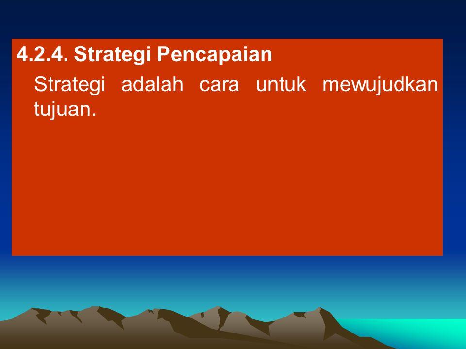4.2.4. Strategi Pencapaian Strategi adalah cara untuk mewujudkan tujuan.