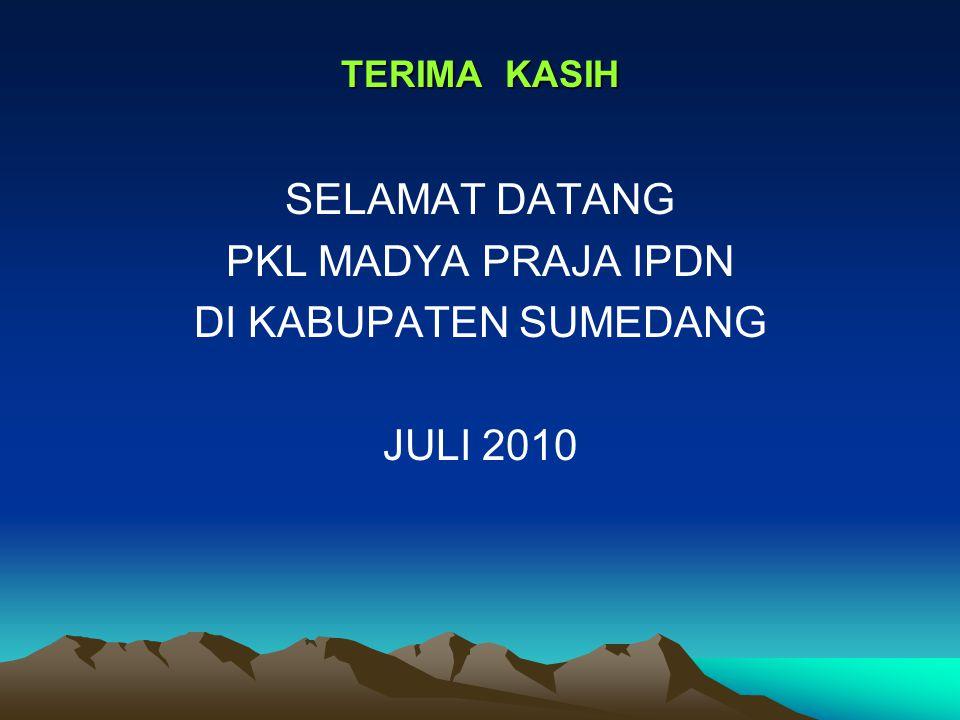 TERIMA KASIH SELAMAT DATANG PKL MADYA PRAJA IPDN DI KABUPATEN SUMEDANG JULI 2010