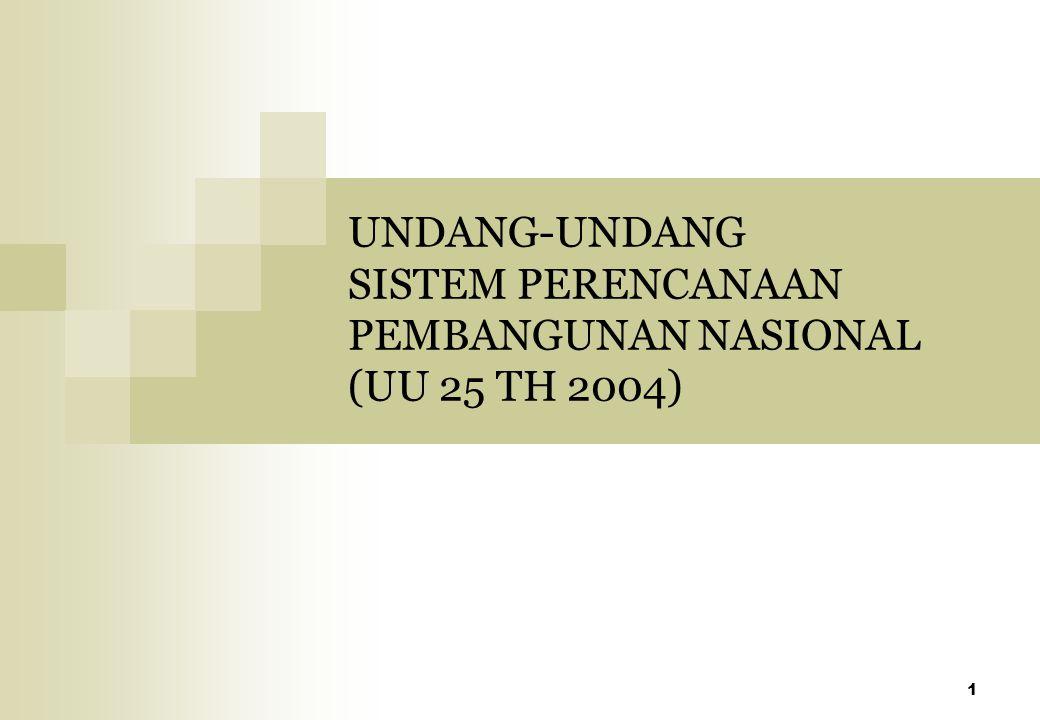 1 UNDANG-UNDANG SISTEM PERENCANAAN PEMBANGUNAN NASIONAL (UU 25 TH 2004)
