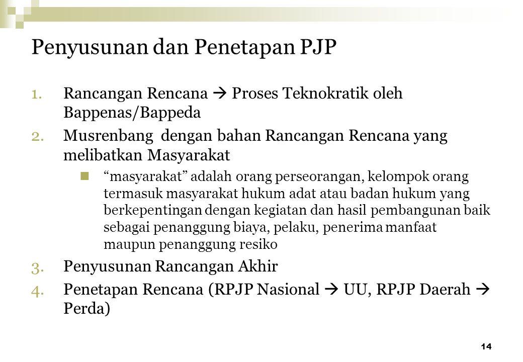 14 Penyusunan dan Penetapan PJP 1.Rancangan Rencana  Proses Teknokratik oleh Bappenas/Bappeda 2.Musrenbang dengan bahan Rancangan Rencana yang meliba