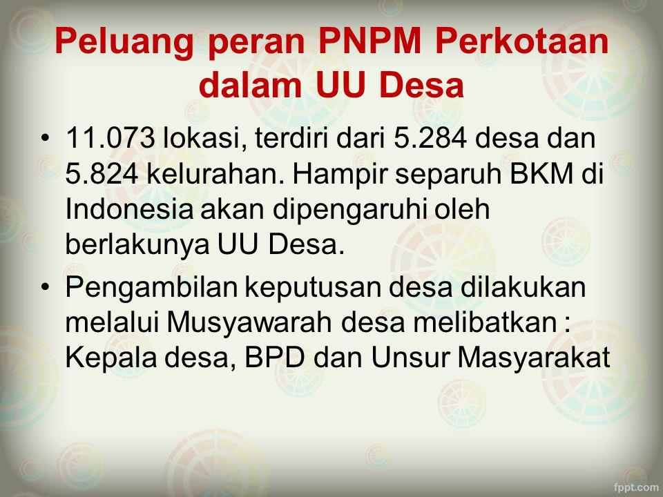 Peluang peran PNPM Perkotaan dalam UU Desa 11.073 lokasi, terdiri dari 5.284 desa dan 5.824 kelurahan. Hampir separuh BKM di Indonesia akan dipengaruh