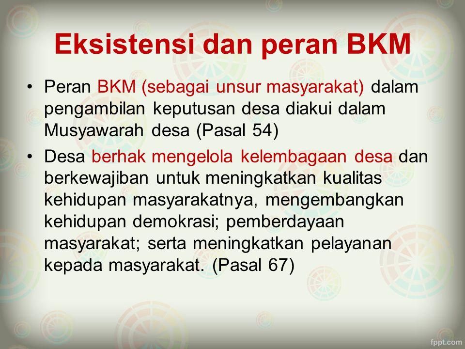 Peran BKM dalam Perencanaan Desa Integrasi PJM Pronangkis dengan Perencanaan Pembangunan Desa agar : –Pro poor (Pasal 78), –mengacu pada perencanaan pembangunan kabupaten/kota (Pasal 79).