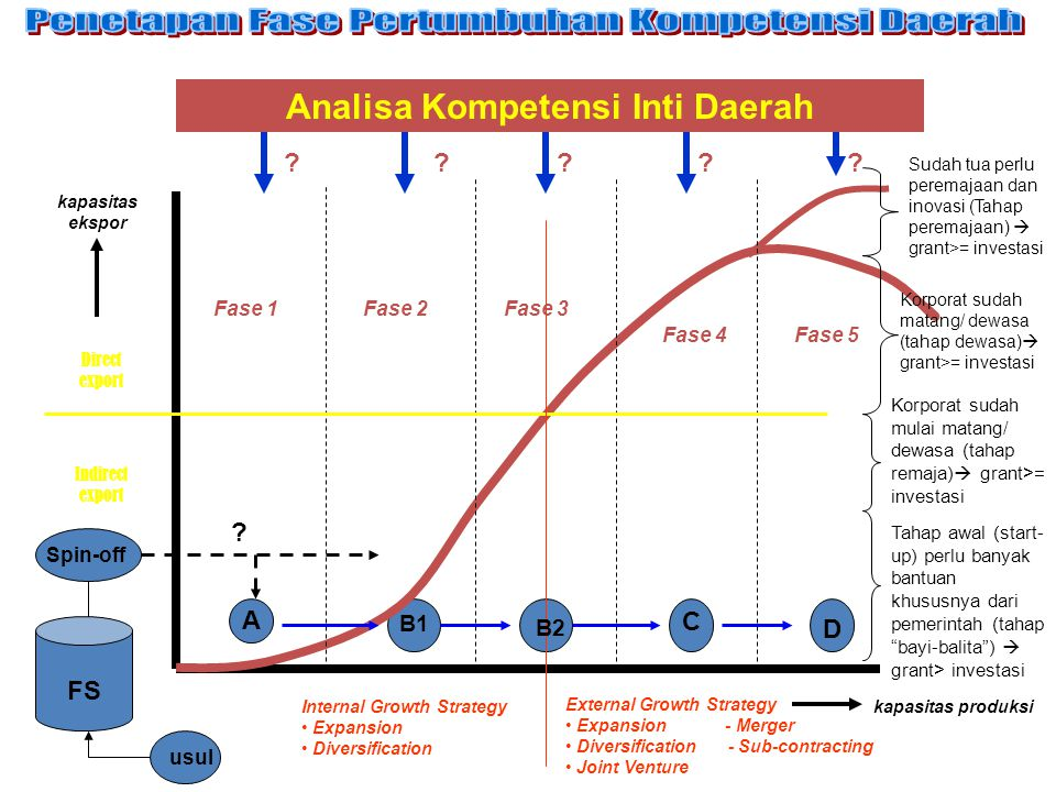 kapasitas produksi Fase 1Fase 2Fase 3 Fase 4Fase 5 A B1 B2 C D Indirect export Direct export kapasitas ekspor Analisa Kompetensi Inti Daerah .