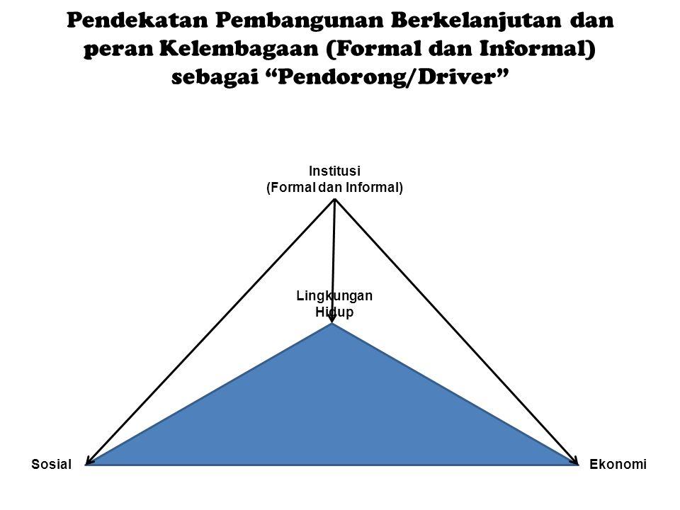 Pendekatan Pembangunan Berkelanjutan dan peran Kelembagaan (Formal dan Informal) sebagai Pendorong/Driver Lingkungan Hidup SosialEkonomi Institusi (Formal dan Informal)