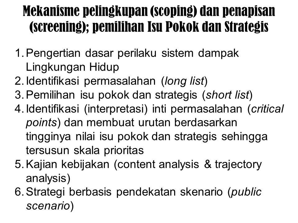 Mekanisme pelingkupan (scoping) dan penapisan (screening); pemilihan Isu Pokok dan Strategis 1.Pengertian dasar perilaku sistem dampak Lingkungan Hidup 2.Identifikasi permasalahan (long list) 3.Pemilihan isu pokok dan strategis (short list) 4.Identifikasi (interpretasi) inti permasalahan (critical points) dan membuat urutan berdasarkan tingginya nilai isu pokok dan strategis sehingga tersusun skala prioritas 5.Kajian kebijakan (content analysis & trajectory analysis) 6.Strategi berbasis pendekatan skenario (public scenario)