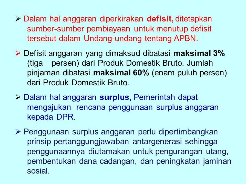  Dalam hal anggaran diperkirakan defisit, ditetapkan sumber-sumber pembiayaan untuk menutup defisit tersebut dalam Undang-undang tentang APBN.  Defi