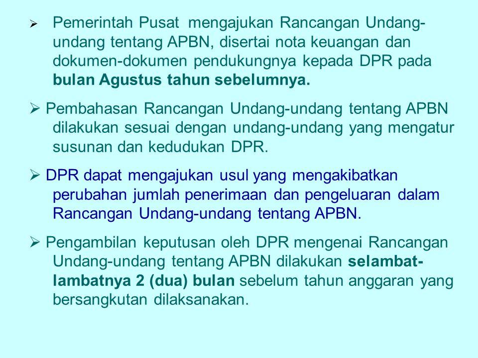  Pemerintah Pusat mengajukan Rancangan Undang- undang tentang APBN, disertai nota keuangan dan dokumen-dokumen pendukungnya kepada DPR pada bulan Agu