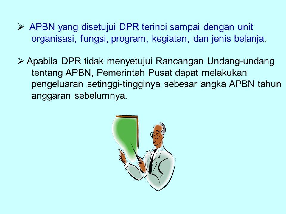  APBN yang disetujui DPR terinci sampai dengan unit organisasi, fungsi, program, kegiatan, dan jenis belanja.  Apabila DPR tidak menyetujui Rancanga
