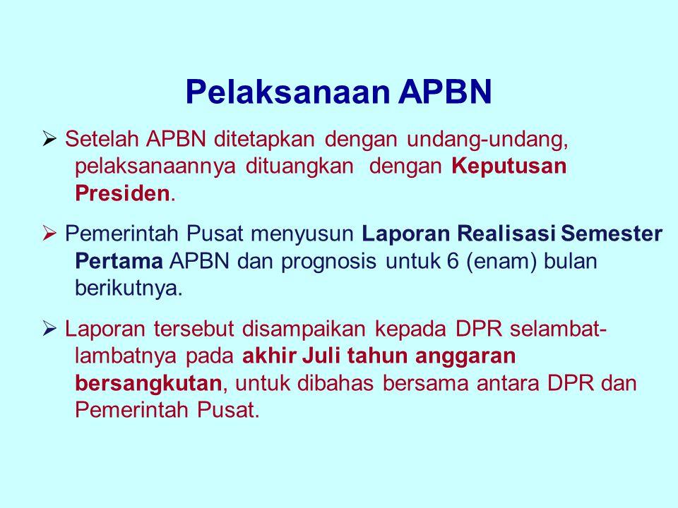 Pelaksanaan APBN  Setelah APBN ditetapkan dengan undang-undang, pelaksanaannya dituangkan dengan Keputusan Presiden.  Pemerintah Pusat menyusun Lapo