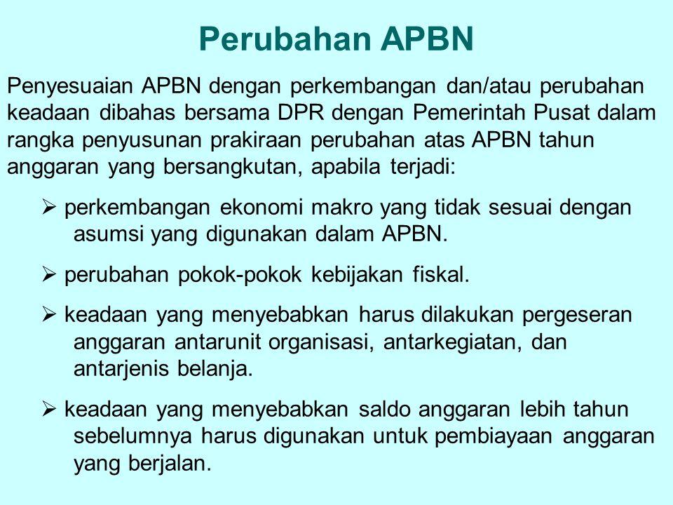 Perubahan APBN Penyesuaian APBN dengan perkembangan dan/atau perubahan keadaan dibahas bersama DPR dengan Pemerintah Pusat dalam rangka penyusunan pra