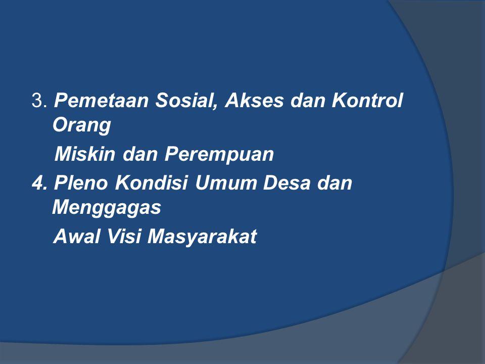 3. Pemetaan Sosial, Akses dan Kontrol Orang Miskin dan Perempuan 4. Pleno Kondisi Umum Desa dan Menggagas Awal Visi Masyarakat