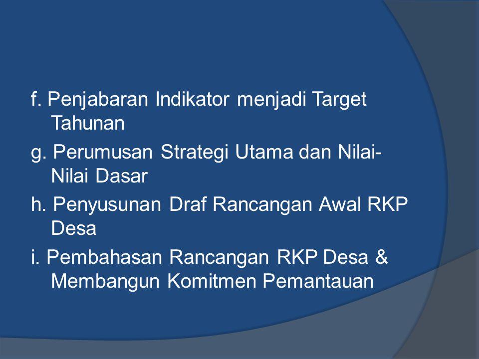 f. Penjabaran Indikator menjadi Target Tahunan g. Perumusan Strategi Utama dan Nilai- Nilai Dasar h. Penyusunan Draf Rancangan Awal RKP Desa i. Pembah