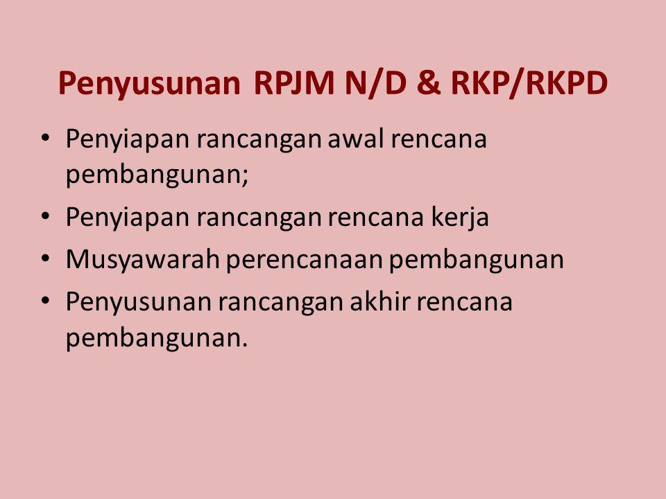 Penyusunan RPJM N/D & RKP/RKPD Penyiapan rancangan awal rencana pembangunan; Penyiapan rancangan rencana kerja Musyawarah perencanaan pembangunan Peny