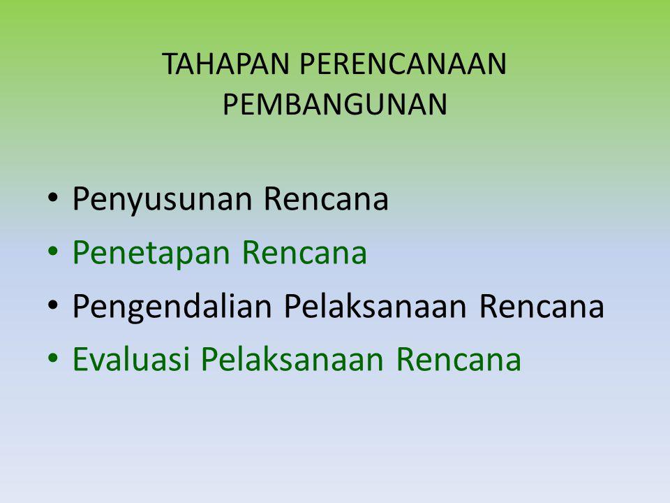 Penetapan Rencana Penetapan rencana menjadi produk hukum sehingga mengikat semua pihak untuk melaksanakannya RPJP Nasional-UU RPJP Daerah-Peraturan Daerah RPJM & Tahunan Nasional-PP RPJM & Tahunan Daerah-Perkada