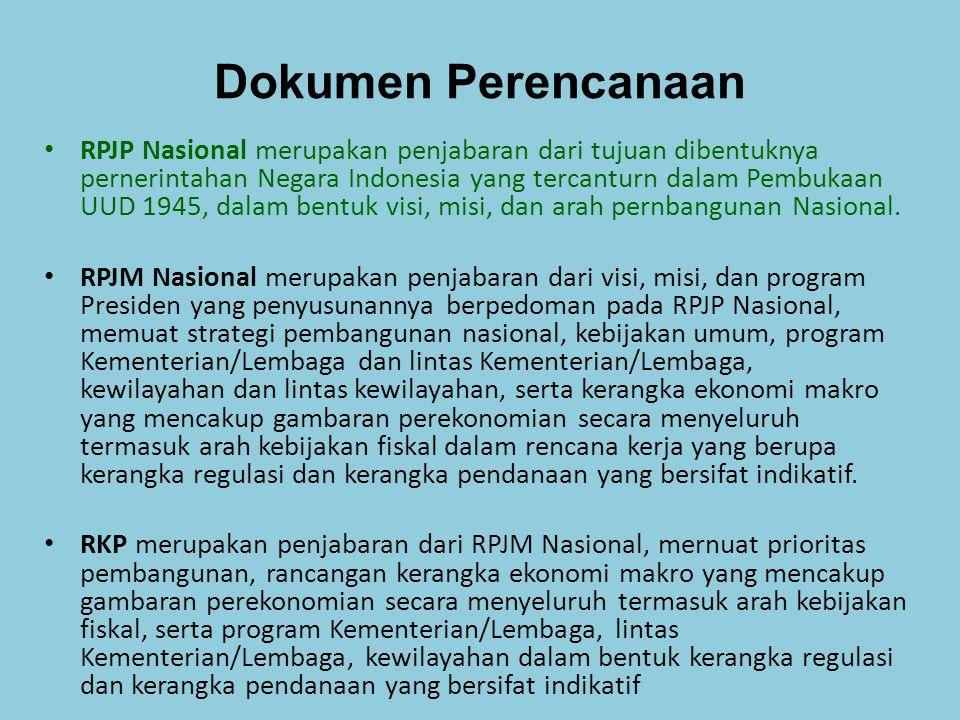 Dokumen Perencanaan Renstra-KL memuat visi, misi, tujuan, strategi, kebijakan, program, dan kegiatan pembangunan sesuai dengan tugas dan fungsi Kementerian/Lembaga yang disusun dengan berpedoman pada RPJM Nasional dan bersifat indikatif.