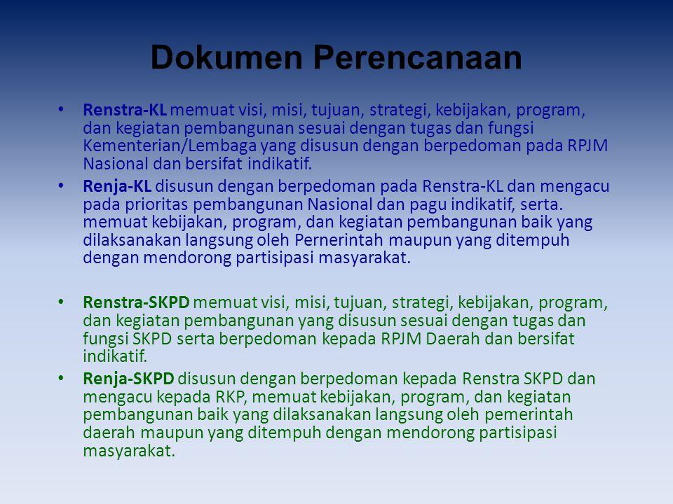 Dokumen Perencanaan Renstra-KL memuat visi, misi, tujuan, strategi, kebijakan, program, dan kegiatan pembangunan sesuai dengan tugas dan fungsi Kement