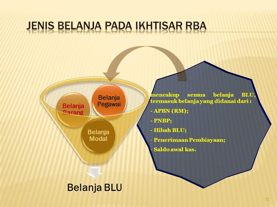 Belanja BLU Belanja Modal Belanja Barang Belanja Pegawai 11 mencakup semua belanja BLU, termasuk belanja yang didanai dari : - APBN (RM); - PNBP; - Hi