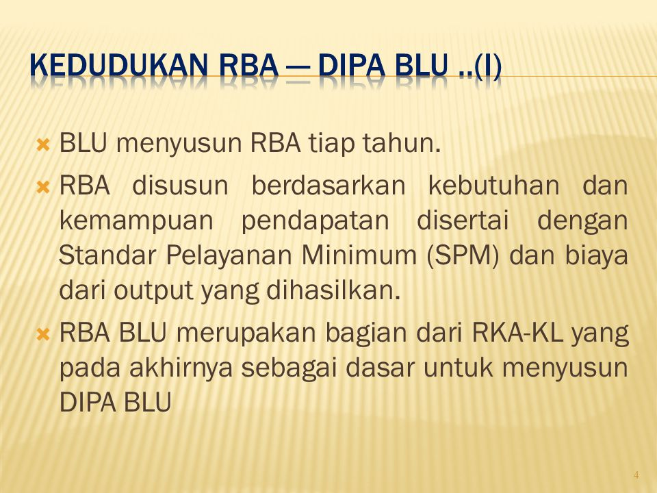  DIPA merupakan lampiran dari perjanjian kerja antara pimpinan BLU dengan kementerian/ lembaga.