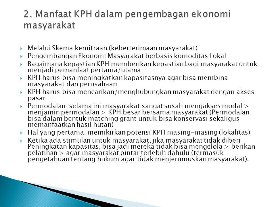  Melalui Skema kemitraan (keberterimaan masyarakat)  Pengembangan Ekonomi Masyarakat berbasis komoditas Lokal  Bagaimana kepastian KPH memberikan k