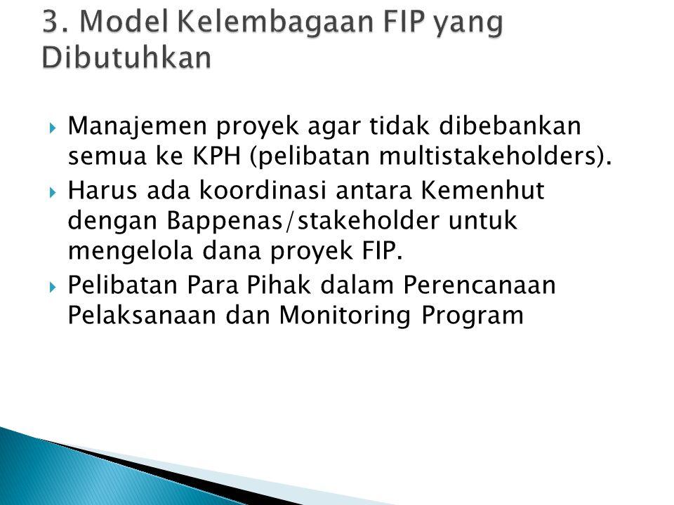  Manajemen proyek agar tidak dibebankan semua ke KPH (pelibatan multistakeholders).  Harus ada koordinasi antara Kemenhut dengan Bappenas/stakeholde