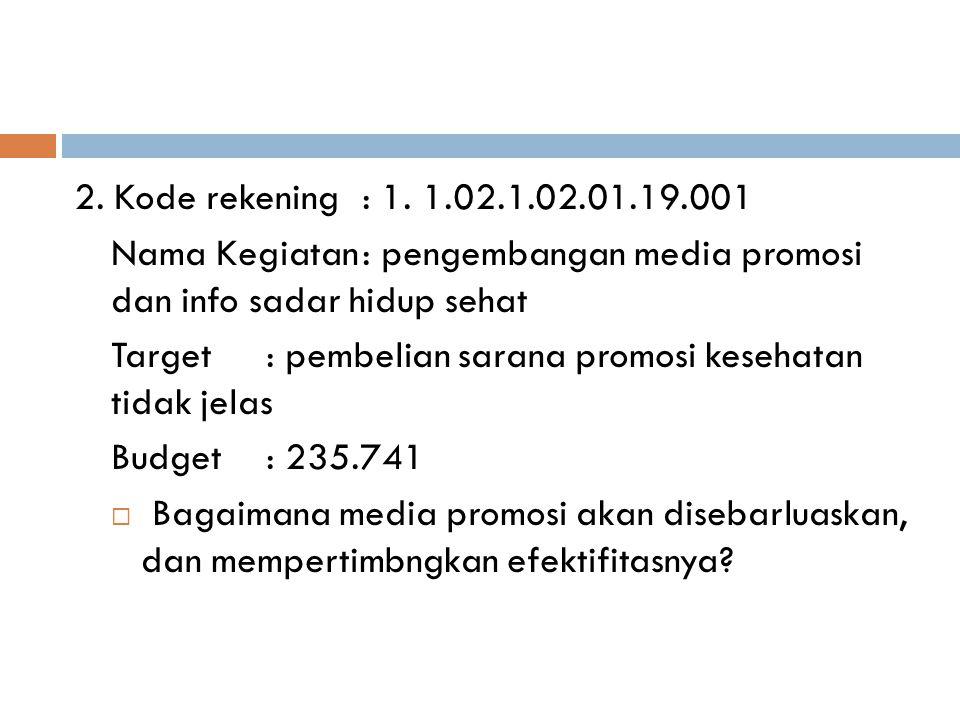 2. Kode rekening: 1. 1.02.1.02.01.19.001 Nama Kegiatan: pengembangan media promosi dan info sadar hidup sehat Target: pembelian sarana promosi kesehat