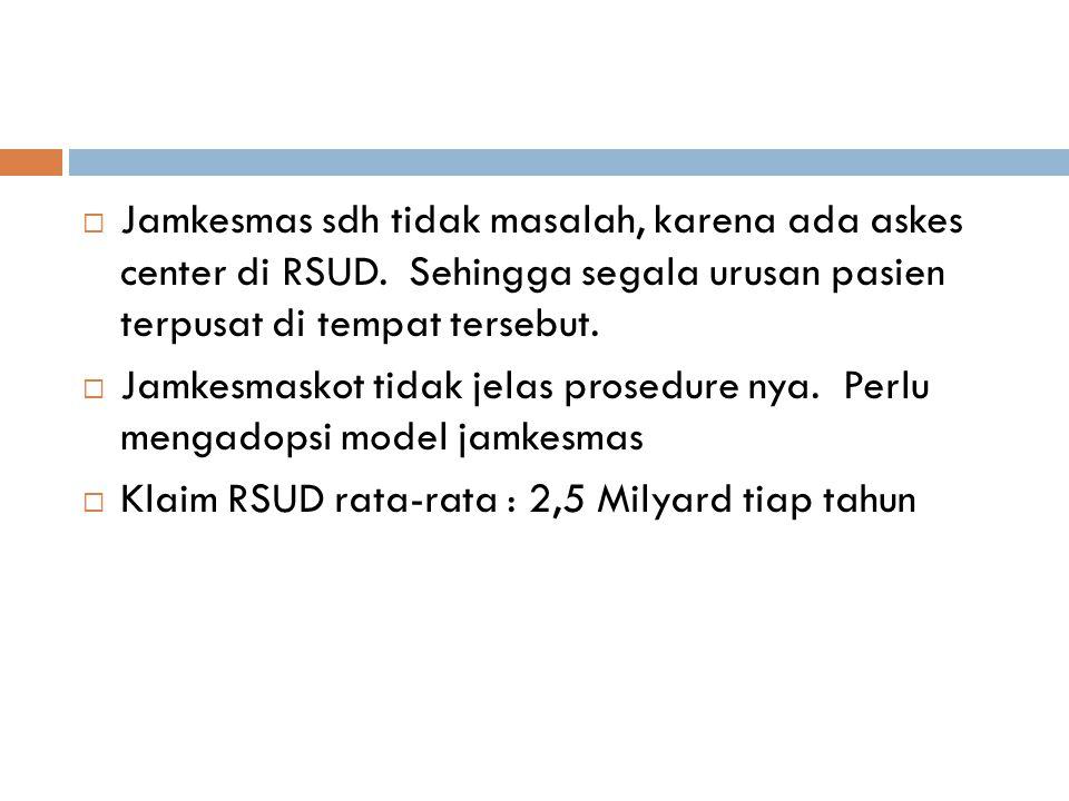  Jamkesmas sdh tidak masalah, karena ada askes center di RSUD. Sehingga segala urusan pasien terpusat di tempat tersebut.  Jamkesmaskot tidak jelas
