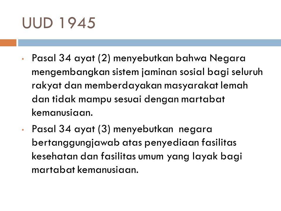 UUD 1945 Pasal 34 ayat (2) menyebutkan bahwa Negara mengembangkan sistem jaminan sosial bagi seluruh rakyat dan memberdayakan masyarakat lemah dan tid