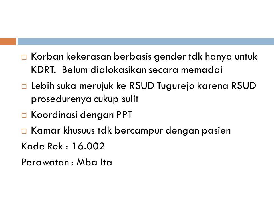  Korban kekerasan berbasis gender tdk hanya untuk KDRT. Belum dialokasikan secara memadai  Lebih suka merujuk ke RSUD Tugurejo karena RSUD prosedure