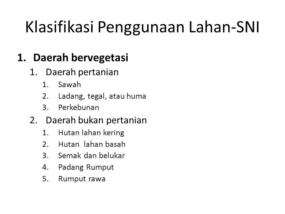 Klasifikasi Penggunaan Lahan-SNI 1.Daerah bervegetasi 1.Daerah pertanian 1.Sawah 2.Ladang, tegal, atau huma 3.Perkebunan 2.Daerah bukan pertanian 1.Hu