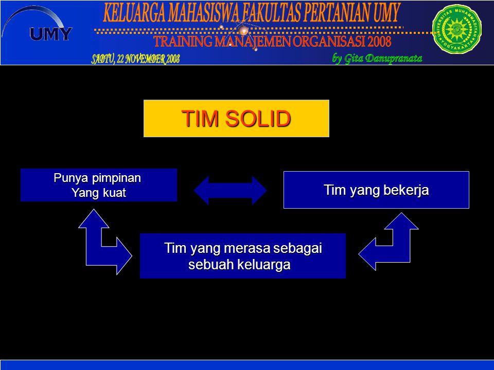 Tim yang merasa sebagai sebuah keluarga Tim yang bekerja Punya pimpinan Yang kuat TIM SOLID