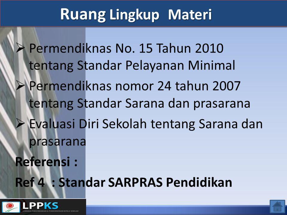  Permendiknas No. 15 Tahun 2010 tentang Standar Pelayanan Minimal  Permendiknas nomor 24 tahun 2007 tentang Standar Sarana dan prasarana  Evaluasi