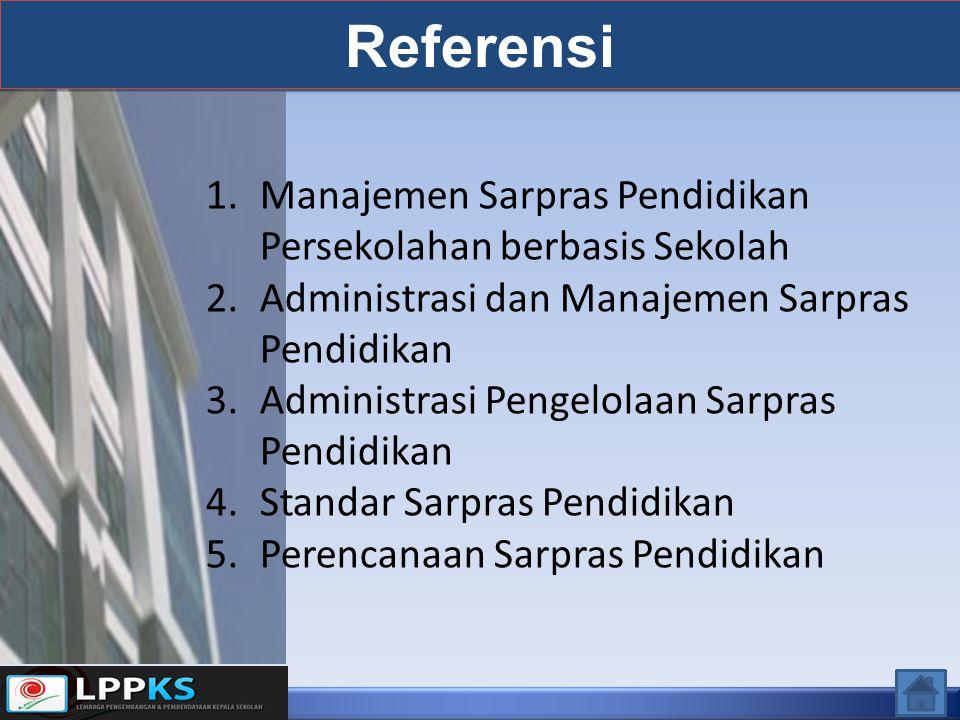 Referensi 1.Manajemen Sarpras Pendidikan Persekolahan berbasis Sekolah 2.Administrasi dan Manajemen Sarpras Pendidikan 3.Administrasi Pengelolaan Sarpras Pendidikan 4.Standar Sarpras Pendidikan 5.Perencanaan Sarpras Pendidikan