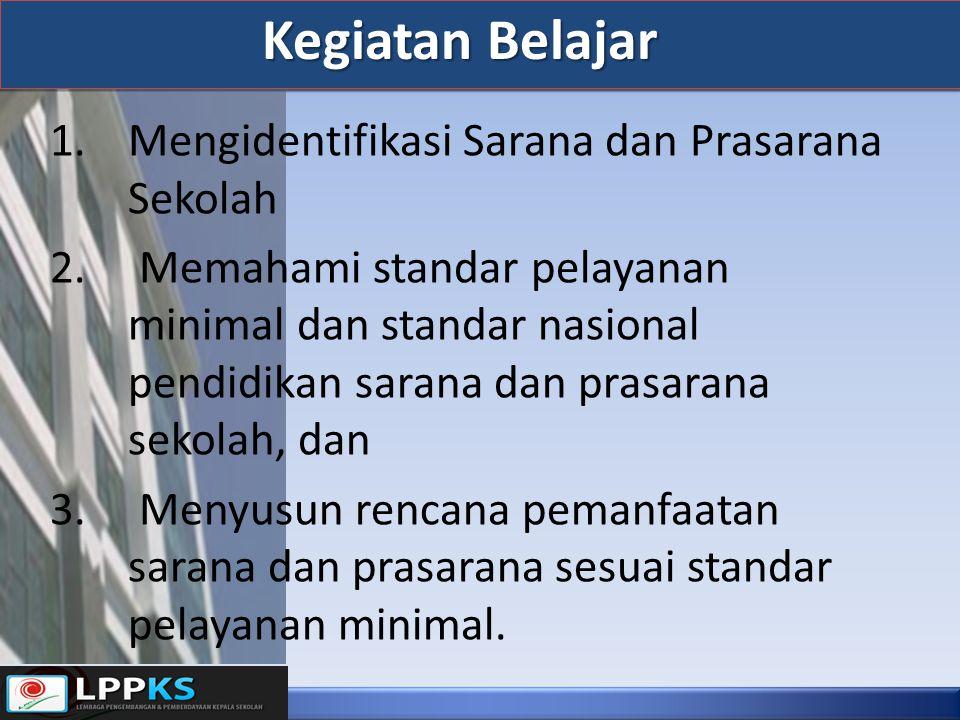 1.Mengidentifikasi Sarana dan Prasarana Sekolah 2. Memahami standar pelayanan minimal dan standar nasional pendidikan sarana dan prasarana sekolah, da
